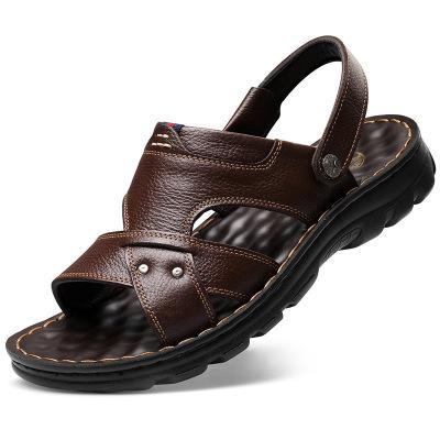 策霸CEBA涼鞋男2020夏季新款男士加厚鞋底頭層牛皮沙灘鞋防滑涼拖鞋兩用鞋