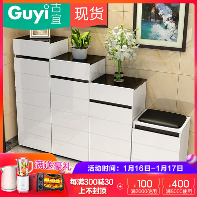 古宜家居(GuYi)G602时尚简约屏风烤漆鞋柜换鞋凳组合间厅柜创意玄关柜隔断柜客厅家具