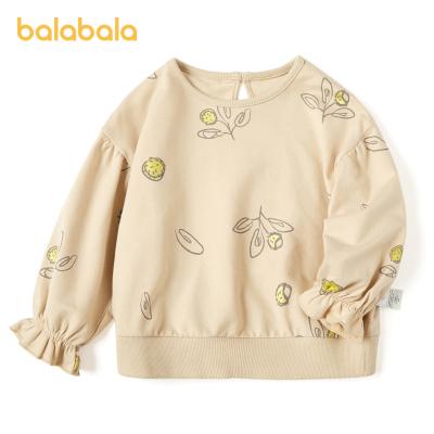 巴拉巴拉女童衛衣秋裝薄款2020新款兒童童裝寶寶碎花燈籠袖上衣