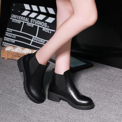 新款英倫復古皮鞋粗跟馬丁靴松緊帶短筒女靴中跟靴子單鞋平跟 臻依緣