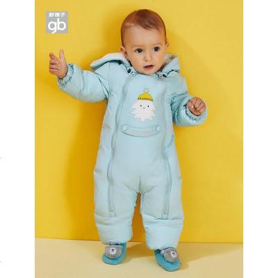 Goodbaby好孩子童裝兒童羽絨連體衣男女寶寶長袖哈衣嬰兒保暖爬服