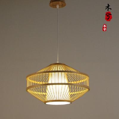 蒹葭現代簡約禪意茶室吊燈新中式主題餐廳燈具日式榻榻米竹燈書房吊燈