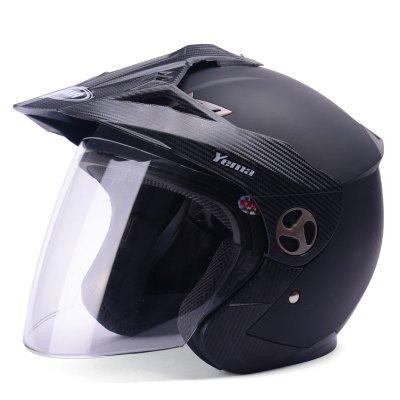 野马YEMA621冬季电动摩托车头盔男四季半覆式电动车安全帽女机车防雾半盔