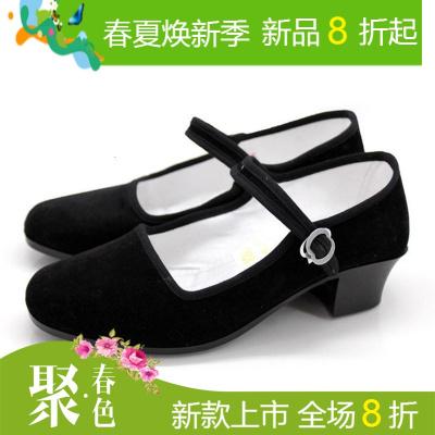 民间舞跟鞋东北秧歌舞蹈鞋女带跟广场舞鞋藏族舞蹈鞋民族舞布鞋