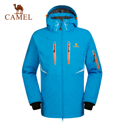 CAMEL駱駝戶外滑雪服 秋冬男款防風加厚保暖帶帽滑雪服