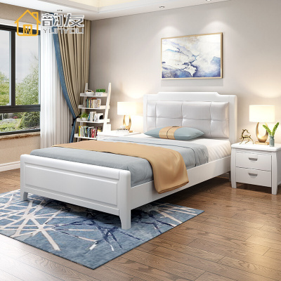 韵友YUNYOU实木床1.35米1.2米单人储物床小户型1米35软靠背1.5家用2软包白色