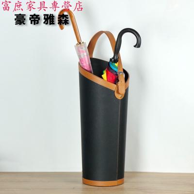 家具好貨放雨傘的桶皮革歐式家用 球桿球拍畫軸收納創意 插花筒口收納放心購