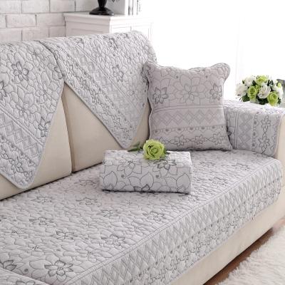沙发垫四季通用全棉布艺防滑坐垫简约现代实木北欧沙发套沙发巾罩 浅灰昙花 70*210cm