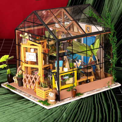 瑞仕茲 創意木質工藝品diy手工小屋拼裝模型凱西花房帶燈送朋友送閨蜜七夕情人節走心創意禮品
