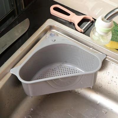 三角水瀝水籃吸盤式轉角廚房置物架廚房用品收納籃多功能瀝水架 瀝水籃1個裝【灰色】