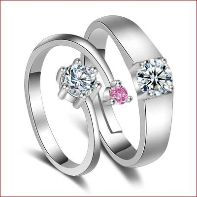 情侣戒指一对镀925银对戒日韩饰品简约活口个性刻字情人节礼物
