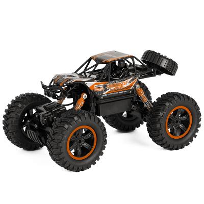 美致模型(MZ) 遥控车 1:14大脚攀爬车 四驱大脚越野汽车 充电车模型儿童男孩玩具 亮橙色 (双电版)2838S