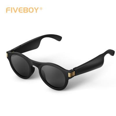 fiveboy定向音頻眼鏡圓框款(旗艦版)全新一代藍牙5.0 通話聽音樂防紫外線防藍光 3D動感環繞音質