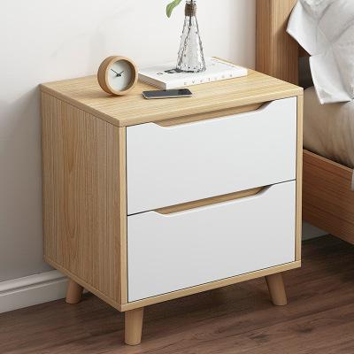 銘槿 床頭柜實木腿北歐臥室簡約現代多功能收納簡易床邊小柜子儲物柜