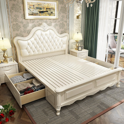 实木床欧式双人床白色现代简约橡木床1.5米1.8米2.0米双人美式婚床卧室公主高箱储物床