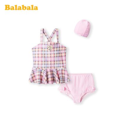 巴拉巴拉女童泳衣中大童公主裙式分體泳裝泳帽經典格紋中大童甜美