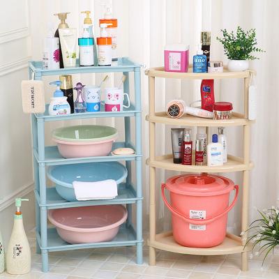 浴室置物架衛生間臉盆架廁所儲物架洗手間收納架子塑料三角架落地