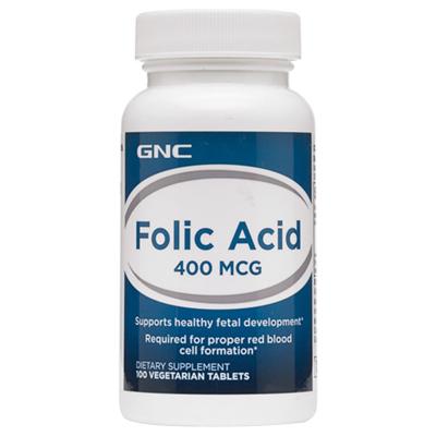 美国原装正品GNC叶酸片剂Folic Acid备孕怀孕必需营养品神经管发育瓶装400mcg100粒