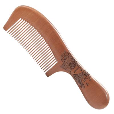 超大号 加厚桃木梳子 女士长直发细齿 整木梳子