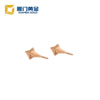 海峡金 18K玫瑰金立体流星耳钉 时尚饰品