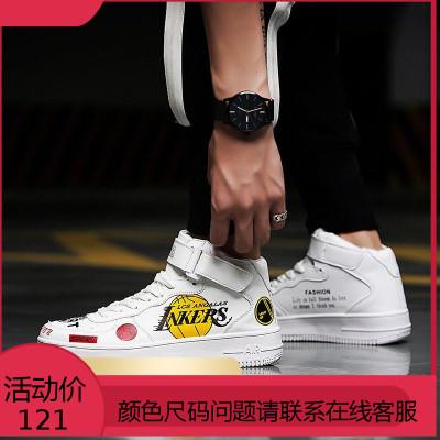 高帮鞋男秋季男鞋子空军一号白色高邦滑板鞋男学生街舞鞋潮鞋