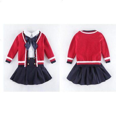 幼儿园园服英伦学院风套装秋冬装毛衣开衫校服小学生儿童演出班服