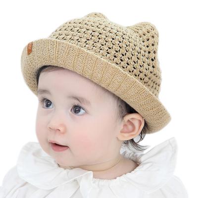 milky friends夏季寶寶帽子兒童貓耳朵棉線草帽男女通用遮陽太陽帽盆帽漁夫帽出游沙灘帽1-2歲