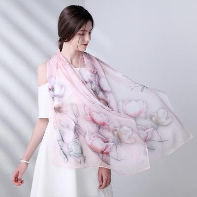 上海故事夏季薄款杭州丝绸真丝围巾女百搭100%桑蚕丝丝巾春秋冬季纱巾礼盒装