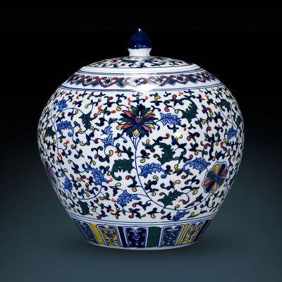 仿古陶瓷花瓶摆件景德镇手绘青花瓷盖罐储物罐中式客厅家居装饰品