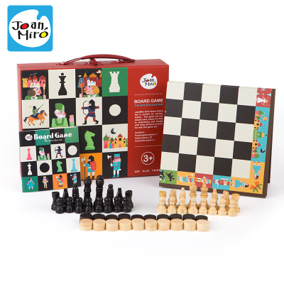 Joan Miro 美乐 儿童游戏棋桌面 卡通益智玩具桌游双面木质国际象棋国际跳棋