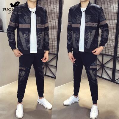 富貴鳥(FUGUINIAO)夾克套裝男秋季2020新款韓版潮流休閑兩件套潮牌外套春秋