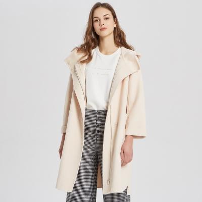 【2件2.5折價:434.8】ME&CITY女裝春季連帽大拉鏈雙面呢大衣中長款外套