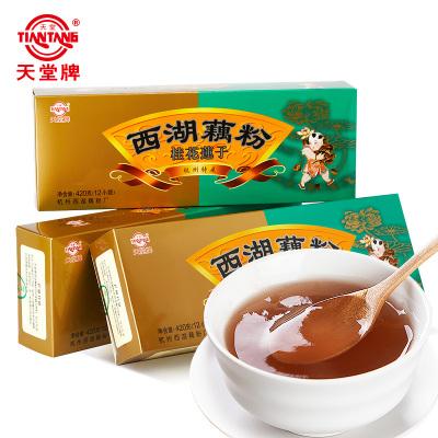 天堂西湖藕粉420gx3盒杭州特產桂花蓮子西湖藕粉速溶即沖即食早餐代餐藕粉