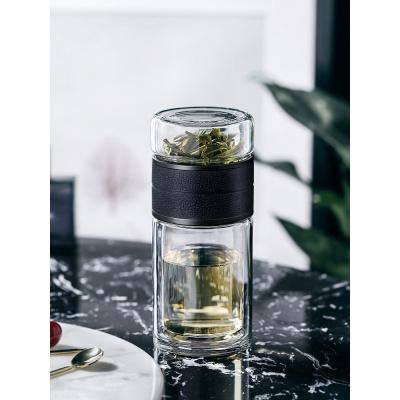 茶水分離保溫杯隔熱玻璃杯便攜防摔水杯雙層一鍵喝茶葉泡茶杯子男 皮紋黑