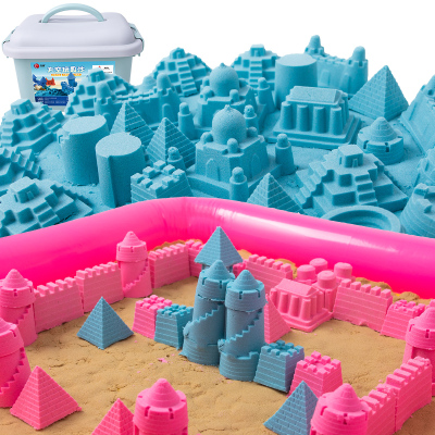 樂締(LEDER)兒童太空玩具沙4斤套裝 超輕粘土彩泥黏土沙子男孩女孩diy手工制作沙灘玩具帶收納盒雙色款