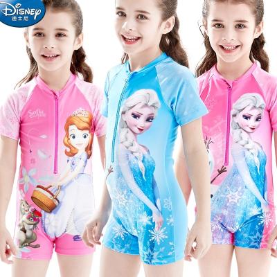 迪士尼(DISNEY)兒童泳衣中大童學生速干連體沖浪服女童沙灘泳裝寶寶游泳衣