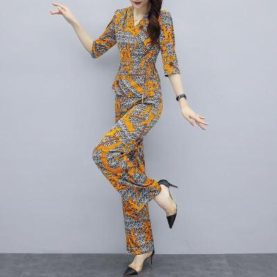 追記 雪紡面料2020夏新款印花氣質上衣闊腿褲兩件套時尚大碼套裝女