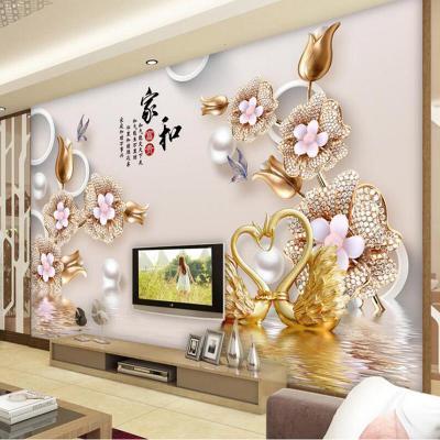 電視墻閃電客背景墻3d立體家和現代中式壁紙墻貼自粘客廳影視墻裝飾壁畫 進口蠶絲布/每平方 超大