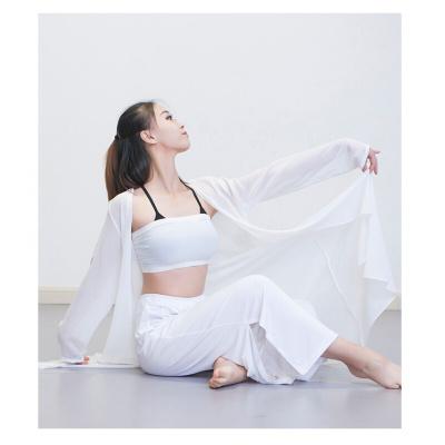 現代舞練功服 古典舞服 披風 寬松舞蹈服 舞蹈練功服 白色 均碼