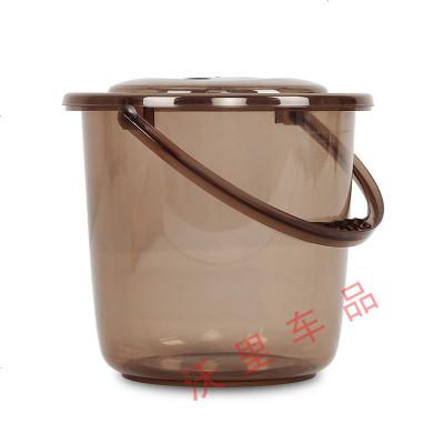 新品塑料水桶帶蓋大小號透明桶洗衣桶手提洗車桶圓型儲水 1702 咖色 9升
