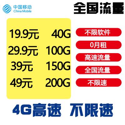 中國移動流量卡4G手機卡無限流量卡不限速不限量0月租全國通用上網隨身wifi騰訊大王卡