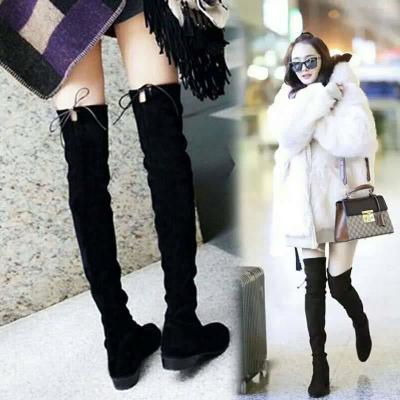 过膝长靴女冬季圆头增高显瘦高筒弹力靴平底长筒靴子女 衫伊格(shanyige)