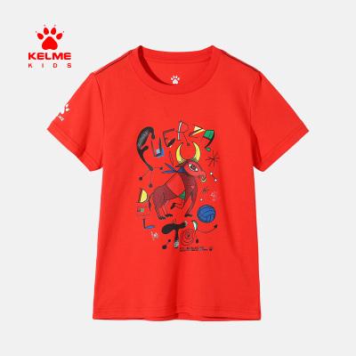 kelme(kids)春季男童T恤膠印小斗牛圖案圓領純棉短袖T恤半袖衫