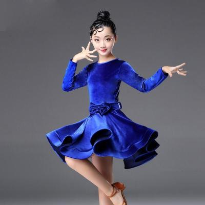 拉丁舞服裝秋冬季絲絨長袖兒童女少兒拉丁舞練功服女童比賽演出服
