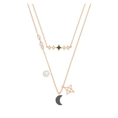 【简约时尚】施华洛世奇(Swarovski) 人造水晶 鬼怪同款项链 星月二合一女士锁骨项链 欧美风格 送恋人