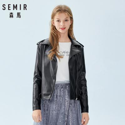 Semir森馬皮衣女2019春季皮外套chic港風翻領機車服皮夾克系帶
