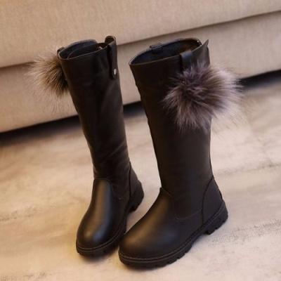 女童靴長筒秋冬款靴子中大童皮靴高筒靴加棉女孩公主過膝靴平底靴