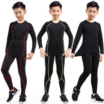 18公主(SHIBAGONGZHU)儿童紧身衣训练服男足球篮球运动套装长袖健身服女速干衣打底衫裤