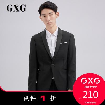 【兩件1折:210】GXG男裝 春季商場同款男士休閑黑色西服男#173113155(上裝)