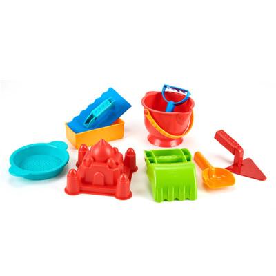 Hape沙灘9件套經典沙灘玩具兒童沙灘玩具鏟套裝桶1-2-6歲寶寶大號男孩女孩玩具小桶鏟子沙漏組合